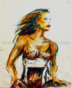 8110621s_ronnie_wood_drawing_of_woman_pastel_pencil_w